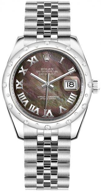 replique Rolex Datejust 31 Black Mother of Pearl Montre à cadran en chiffres romains 178344