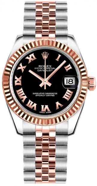 replique Rolex Datejust 31 Black Roman Numeral Dial Watch 178271