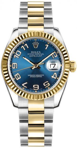replique Rolex Datejust 31 Blue Dial Yellow Gold & Steel Watch 178273