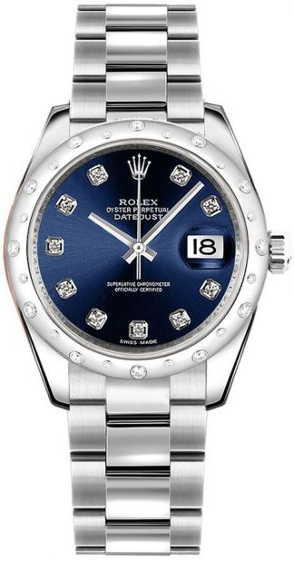 replique Rolex Datejust 31 Blue Diamond Dial Montre 178344