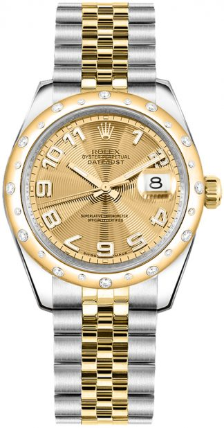 replique Rolex Datejust 31 Champagne Dial Diamond Watch 178343