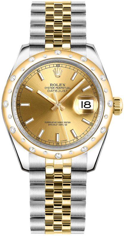 replique Rolex Datejust 31 Champagne Dial Diamond Watch pour femme 178343