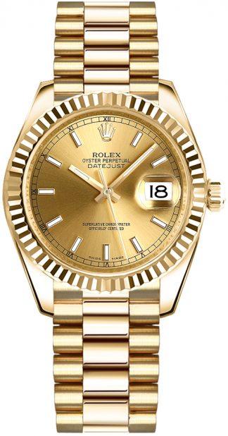 replique Rolex Datejust 31 Champagne Dial Gold Watch 178278