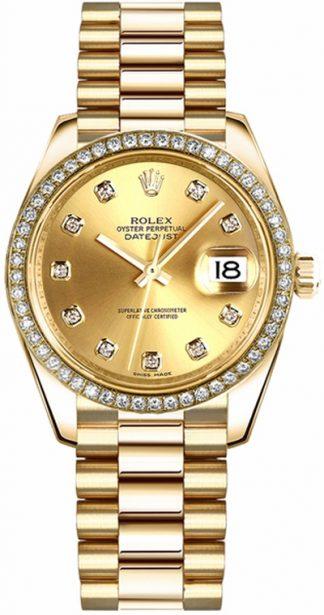 replique Rolex Datejust 31 Champagne Diamond Gold Watch 178278