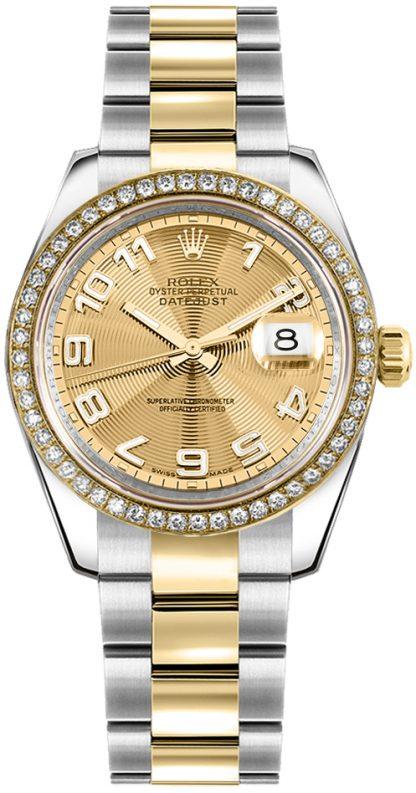 replique Rolex Datejust 31 Champagne Diamond Watch 178383