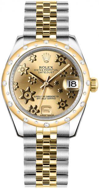 replique Rolex Datejust 31 Champagne Floral Dial Dial Montre 178343