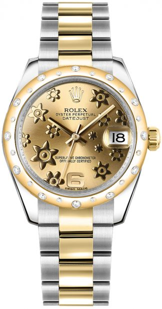 replique Rolex Datejust 31 Champagne Floral Diamond Watch 178343