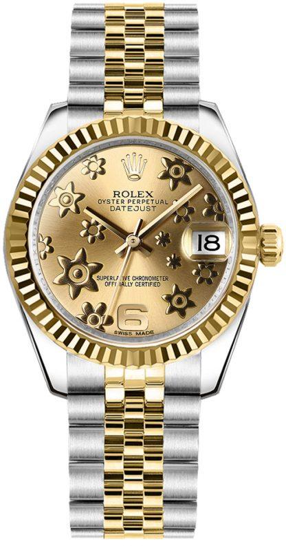 replique Rolex Datejust 31 Champagne Floral Motif Dial 178273