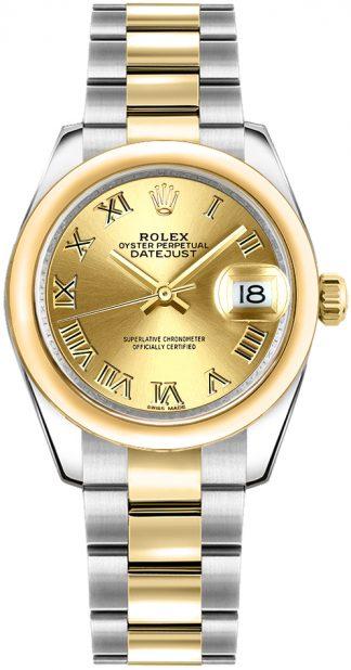 replique Rolex Datejust 31 Champagne cadran à chiffres romains 178243
