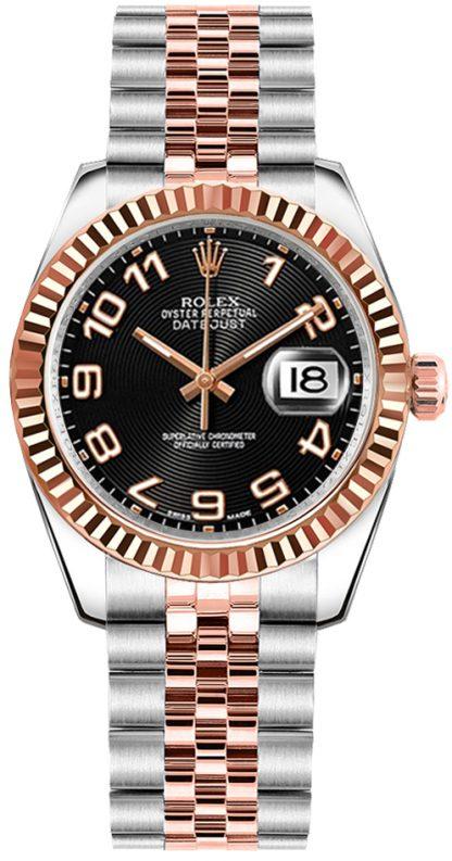 replique Rolex Datejust 31 Concentric Circle Black Dial Watch 178271