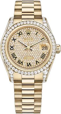 replique Rolex Datejust 31 Diamond 18k Gold Watch 178158