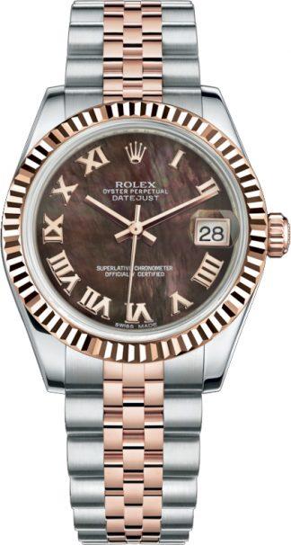 replique Rolex Datejust 31 Everose Gold & Oystersteel Watch 178271
