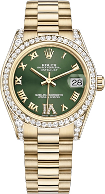 replique Rolex Datejust 31 Green Diamond Dial Montre 178158