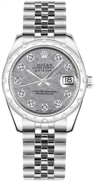 replique Rolex Datejust 31 Meteorite Gray Dial Diamond Watch 178344