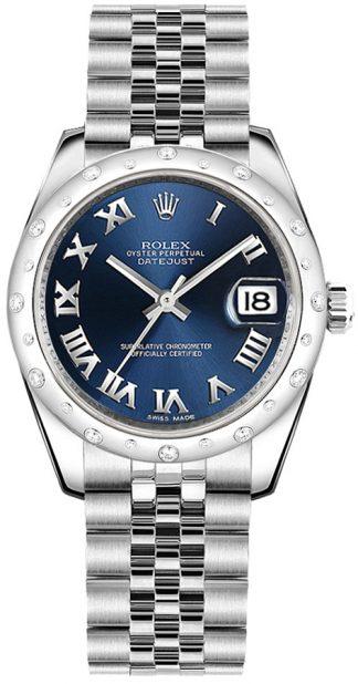 replique Rolex Datejust 31 - Montre à cadran bleu et chiffres romains 178344