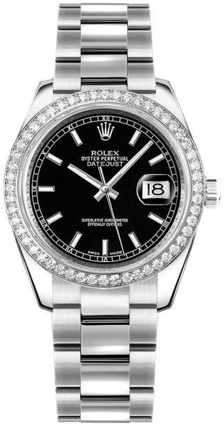 replique Rolex Datejust 31 Montre à cadran noir pour femme 178384