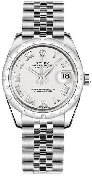replique Rolex Datejust 31 - Montre à chiffres romains blancs 178344