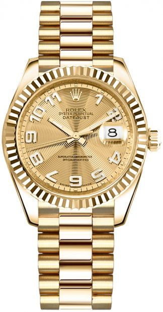 replique Rolex Datejust 31 Montre automatique en or pour femme 178278