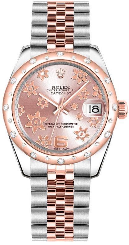 replique Rolex Datejust 31 - Montre-bracelet à jubilé de fleurs roses 178341
