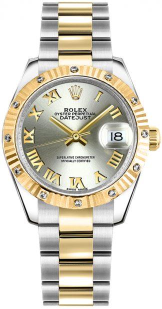 replique Rolex Datejust 31 - Montre-bracelet en argent avec chiffres romains et huître 178313