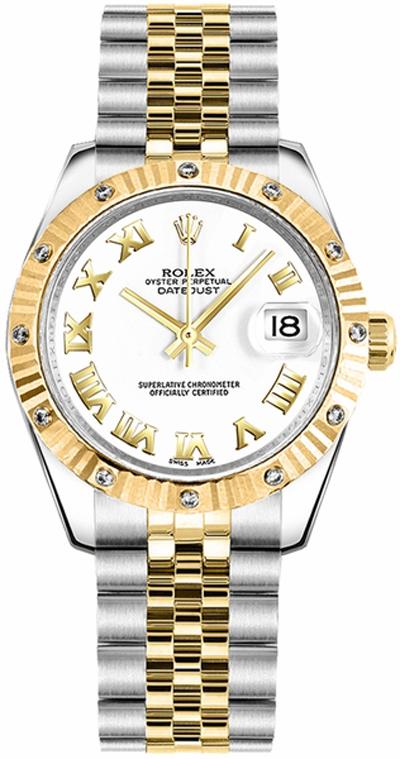 replique Rolex Datejust 31 - Montre-bracelet jubilé avec chiffres romains blancs 178313