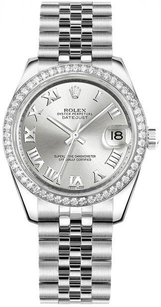 replique Rolex Datejust 31 - Montre-bracelet jubilé avec chiffres romains en argent 178384