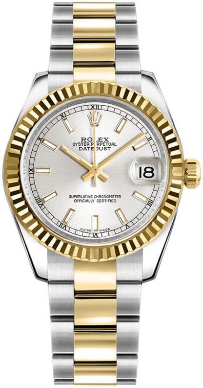 replique Rolex Datejust 31 - Montre lunette cannelée en or jaune 178273