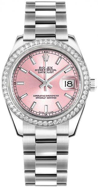 replique Rolex Datejust 31 - Montre lunette diamant rose 178384