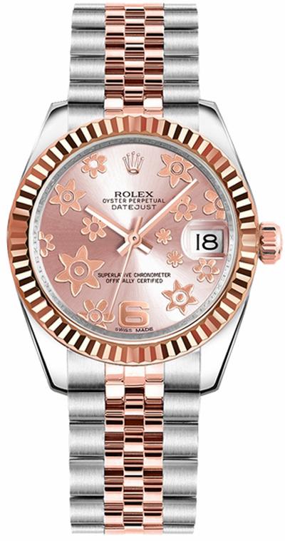 replique Rolex Datejust 31 Pink Floral Motif Dial Watch 178271