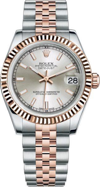 replique Rolex Datejust 31 Rose Gold & Steel Silver Dial Watch 178271