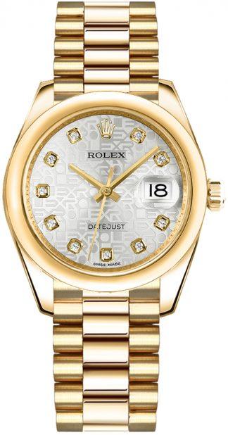 replique Rolex Datejust 31 Silver Dial Gold Women's Watch 178248