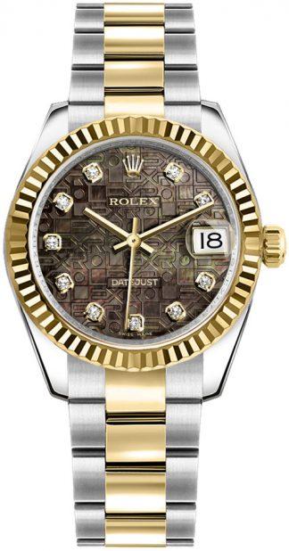 replique Rolex Datejust 31 Solid 18k Gold & Oystersteel Watch 178273