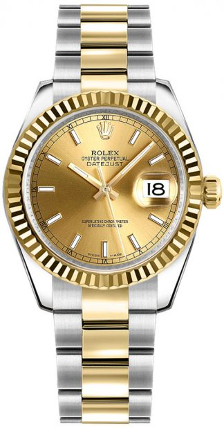 replique Rolex Datejust 31 Steel and 18k Yellow Gold Watch 178273
