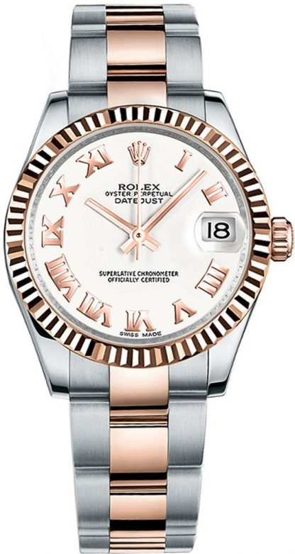 replique Rolex Datejust 31 White Dial Rose Gold & Steel Watch 178271
