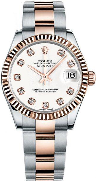 replique Rolex Datejust 31 White Diamond Dial Women's Watch 178271