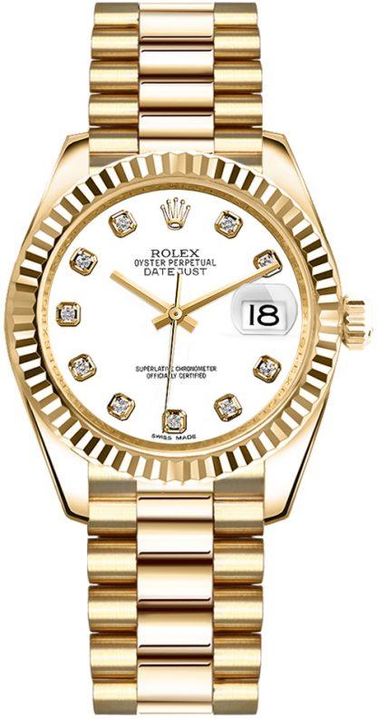 replique Rolex Datejust 31 White Diamond President Bracelet Montre en or 178278