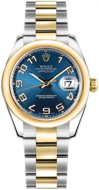 replique Rolex Datejust 31 acier et or cadran bleu Montre 178243