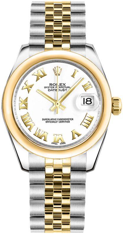 replique Rolex Datejust 31 cadran blanc deux tons montre 178243