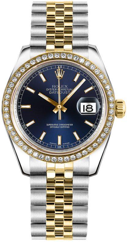 replique Rolex Datejust 31 cadran bleu Jubilee Bracelet montre 178383