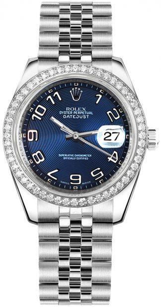 replique Rolex Datejust 31 cadran bleu diamant montre 178384