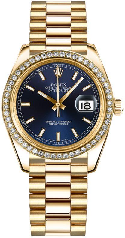 replique Rolex Datejust 31 cadran bleu or diamant montre 178288