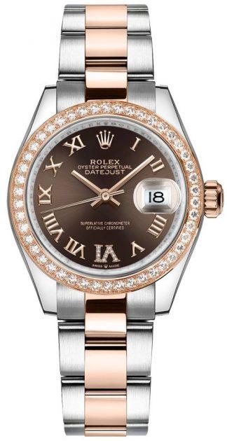 replique Rolex Datejust 31 cadran brun Oyster Bracelet montre femme 278381RBR