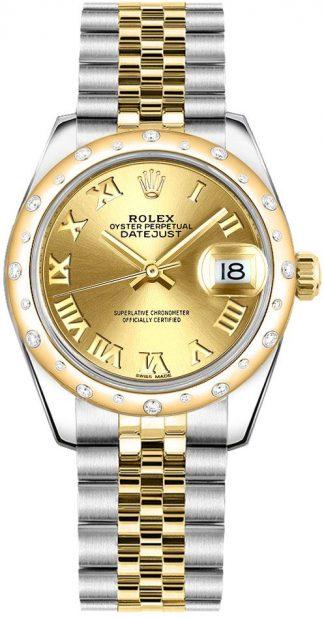 replique Rolex Datejust 31 cadran champagne chiffre romain pour femme 178343