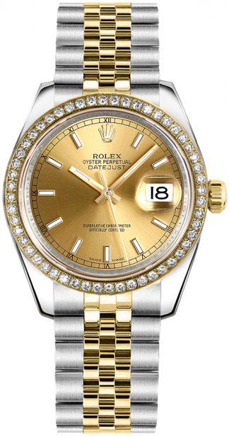 replique Rolex Datejust 31 cadran champagne or et acier 178383