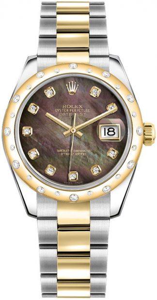 replique Rolex Datejust 31 cadran nacre noire pour femme 178343