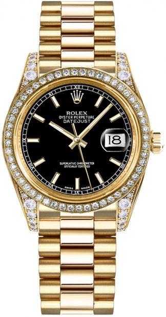 replique Rolex Datejust 31 cadran noir Diamond Watch 178158