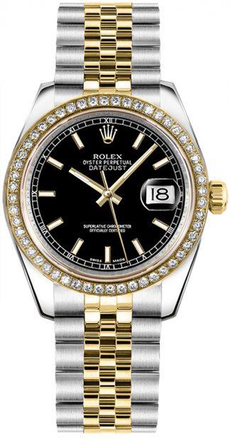 replique Rolex Datejust 31 cadran noir Jubilee Bracelet montre 178383