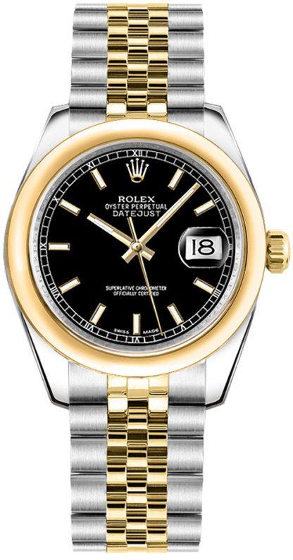 replique Rolex Datejust 31 cadran noir deux tons montre 178243