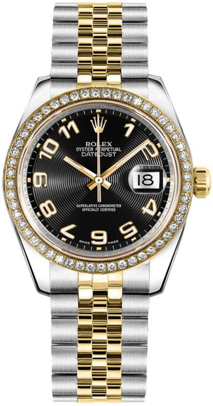 replique Rolex Datejust 31 cadran noir en or jaune et acier 178383
