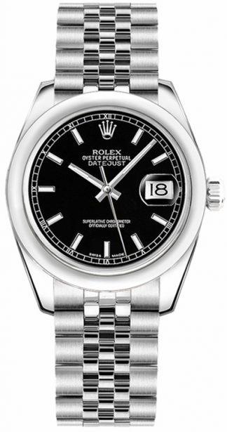 replique Rolex Datejust 31 cadran noir lunette bombée 178240